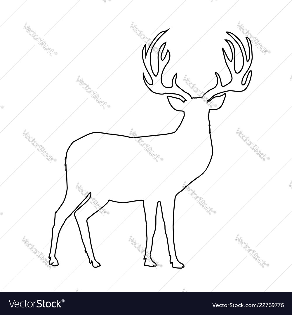 Black outline silhouette of reindeer with big