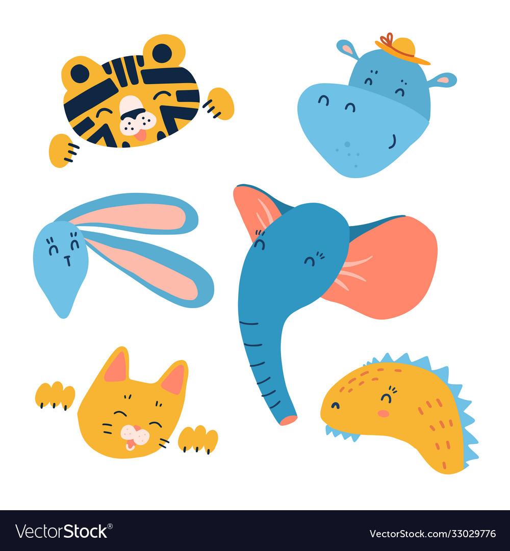 Cartoon animal heads set modern concept flat