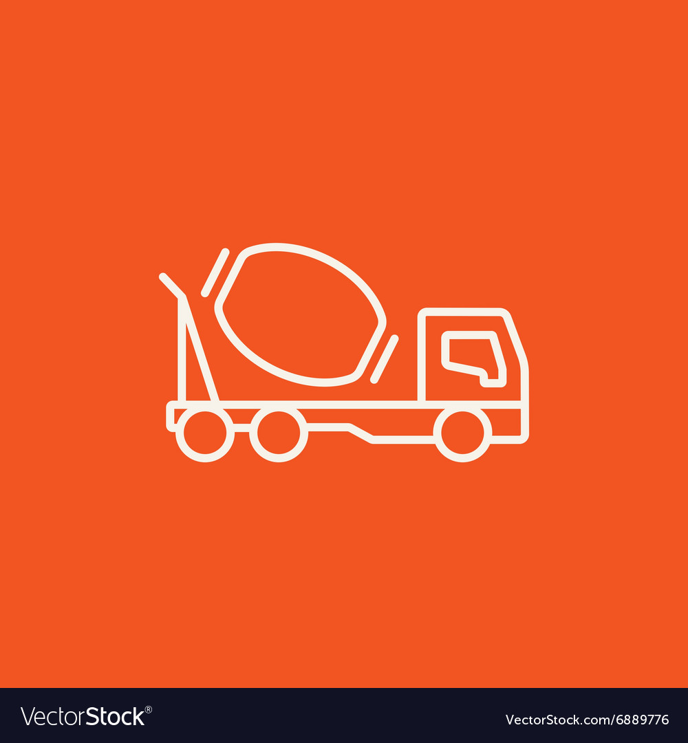 Concrete mixer truck line icon