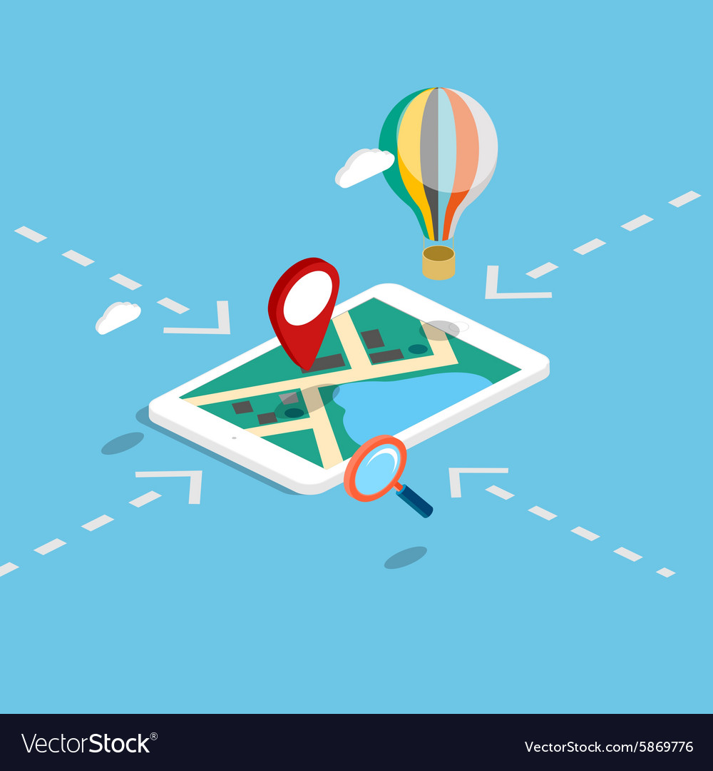 Flat 3d isometric mobile navigation maps