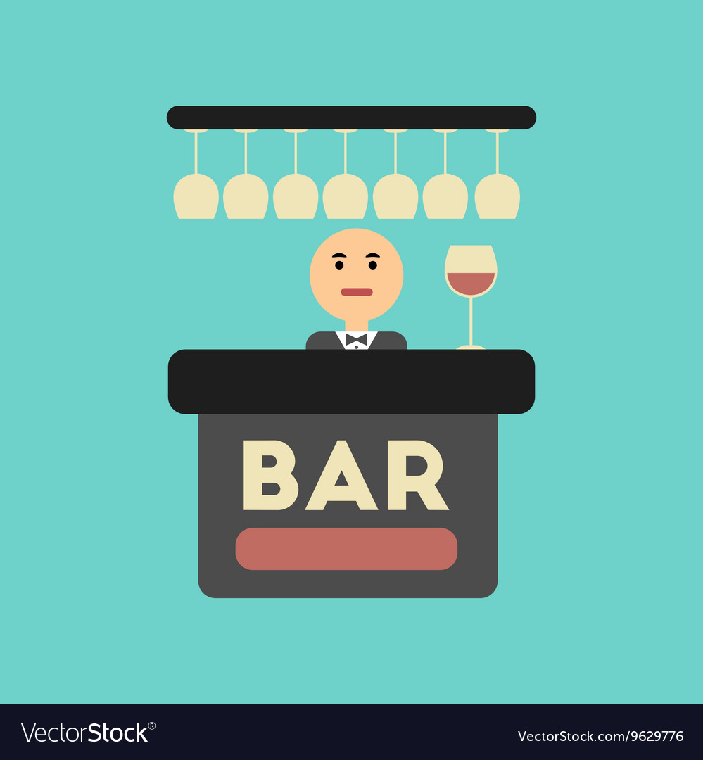 Flat icon on stylish background icon bar bartender vector image