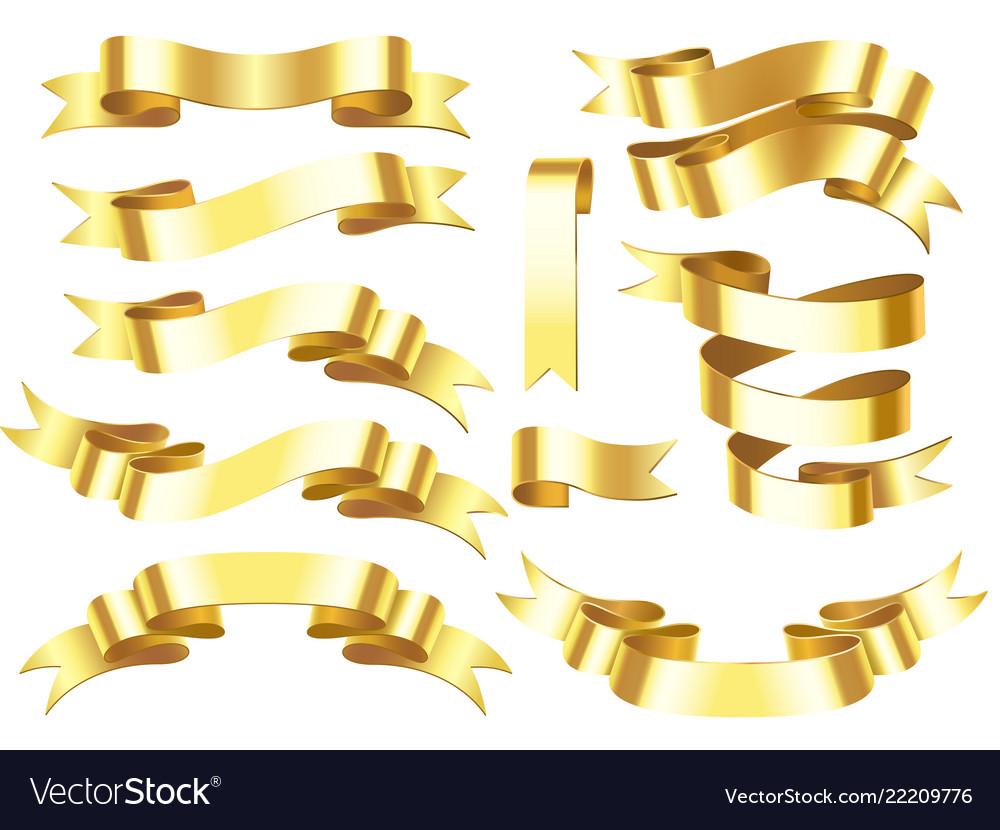 Gold ribbon banner golden award or celebration