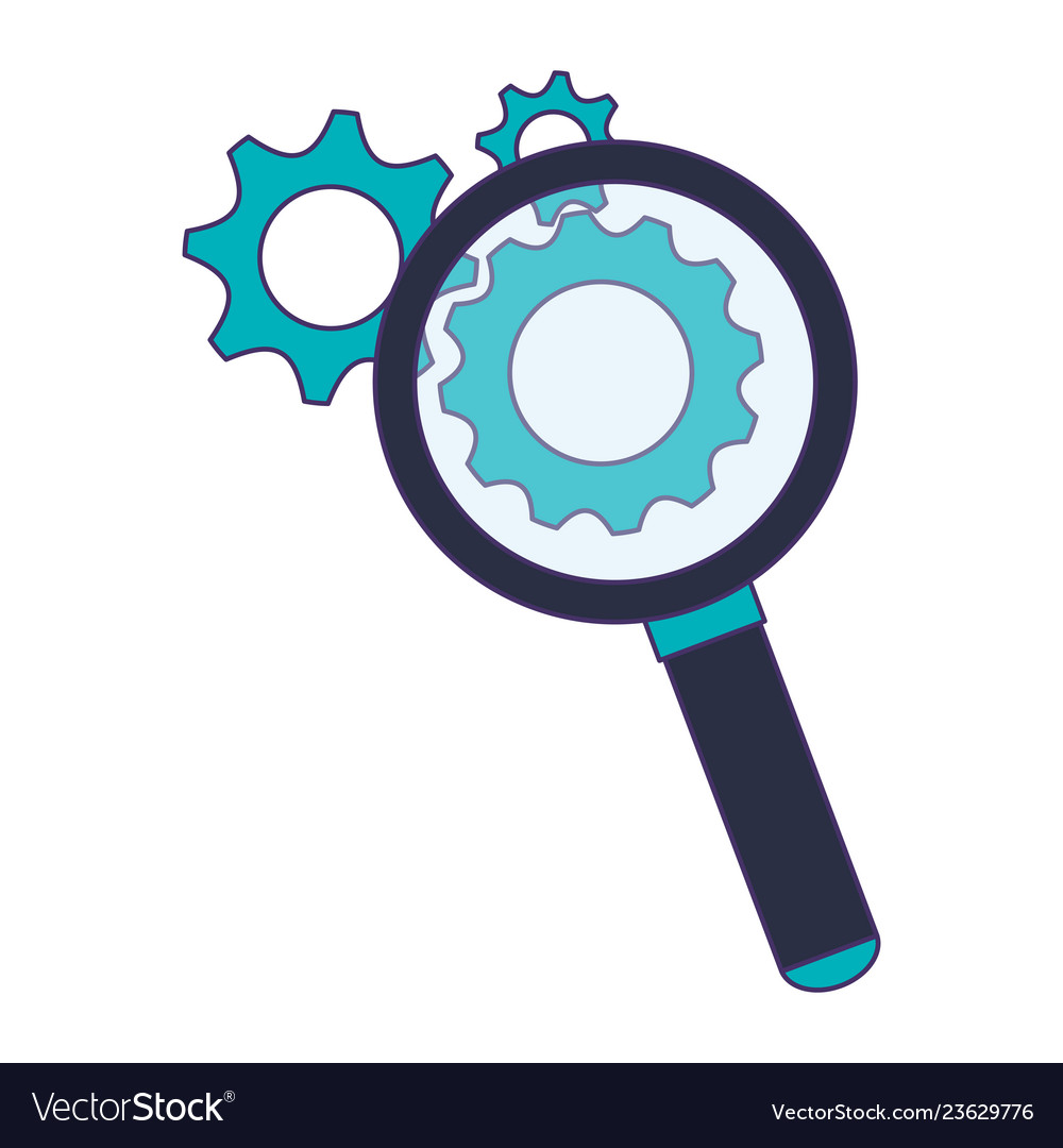 Magnifying glass with gears symbol blue lines