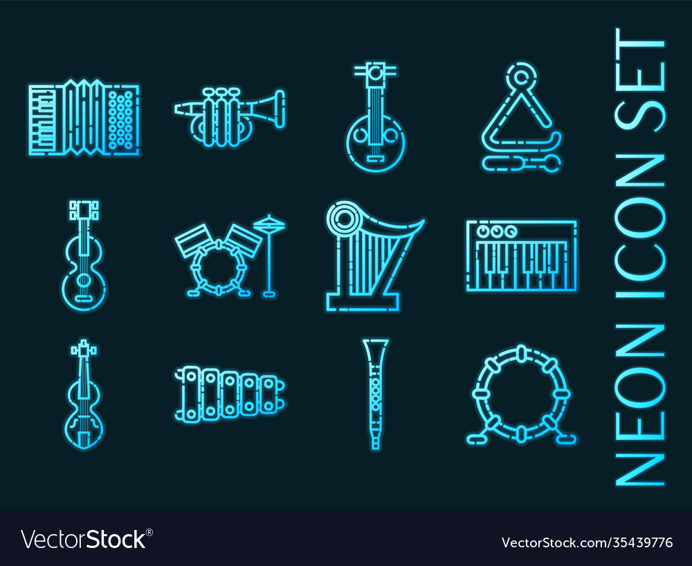Musical instruments set icons blue neon style