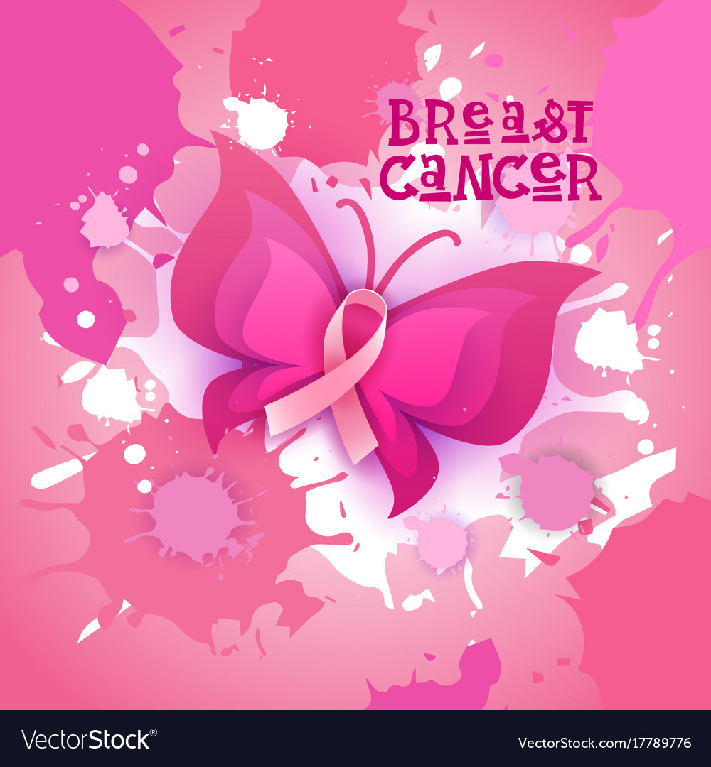 Pink ribbon butterfly breast cancer awareness