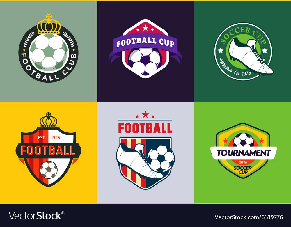 Set of vintage color football soccer championship
