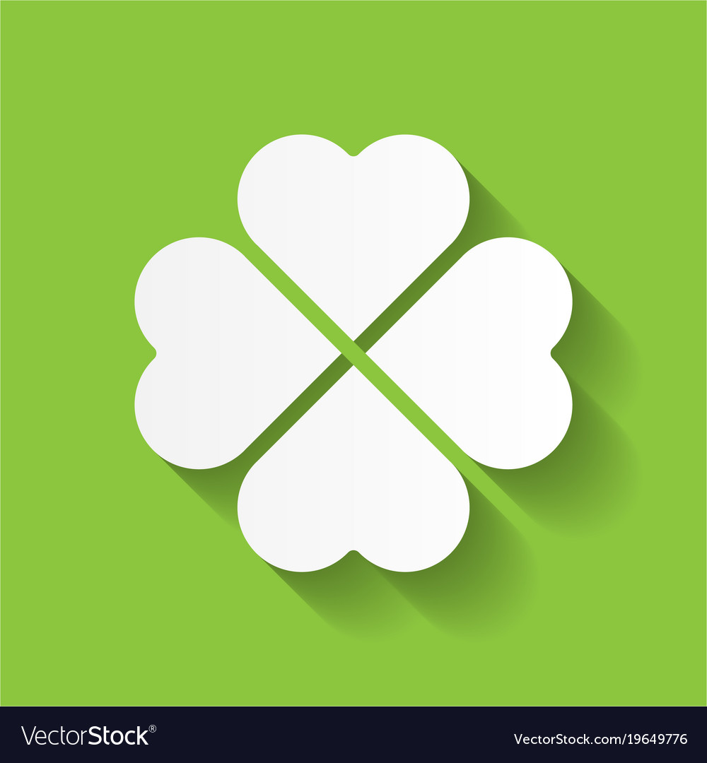 Shamrock White Four Leaf Clover Icon Good Luck Vector Image
