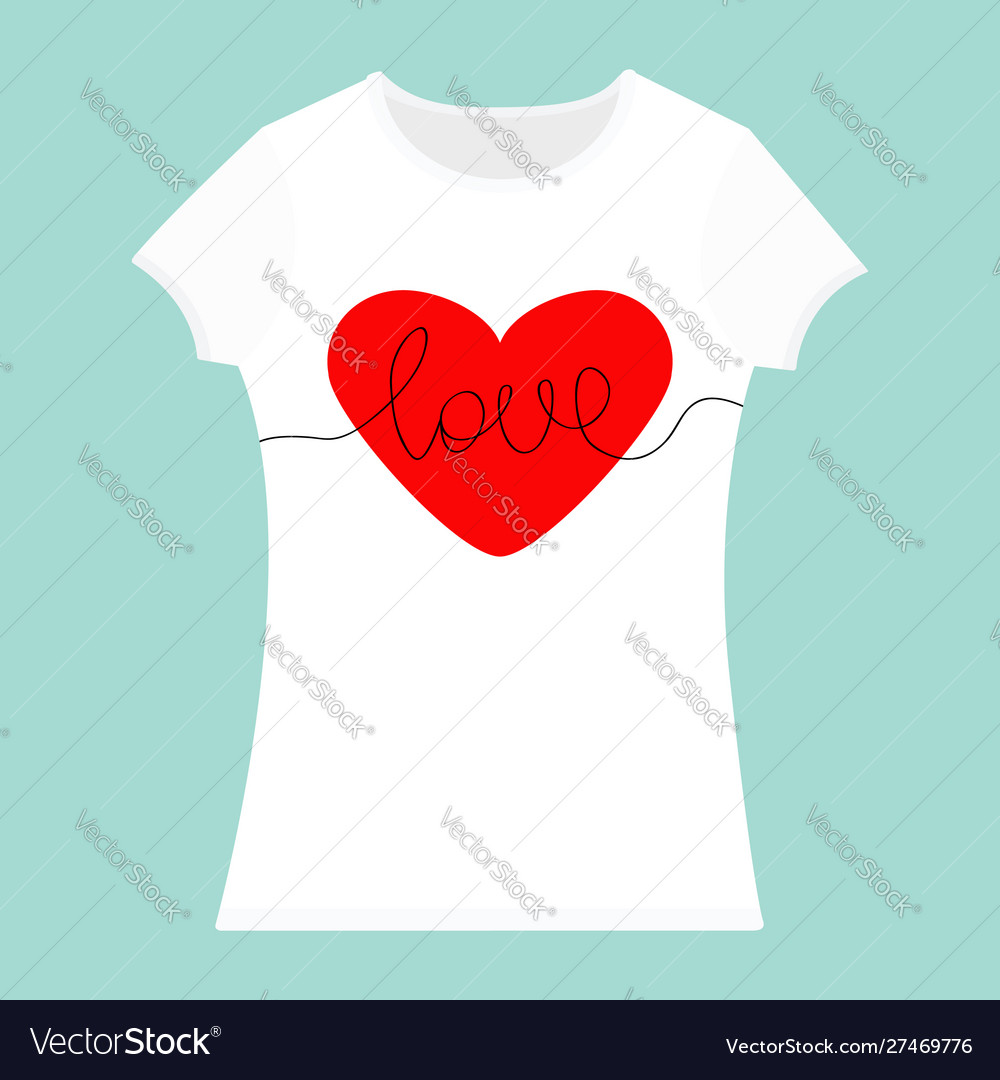 Word love lettering red heart t-shirt template