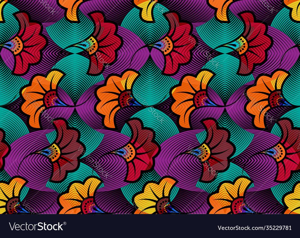 African wax print fabric ethnic flowers pattern