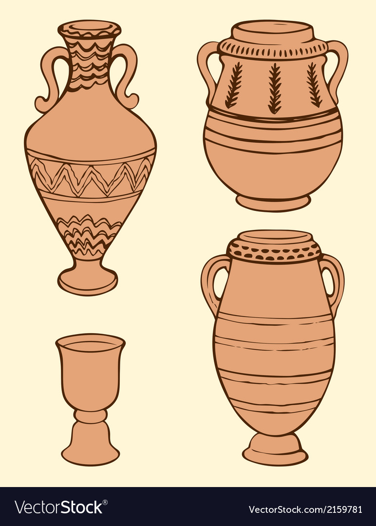 Ancient vases with geometric ornament