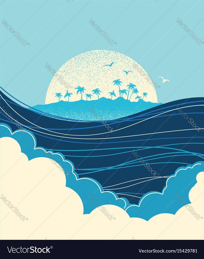 Big ocean waves and tropical island blue
