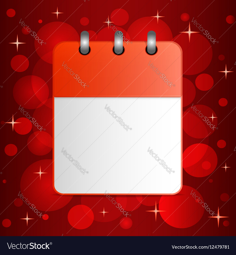 Blank sheet of calendar on festive colorful vector image