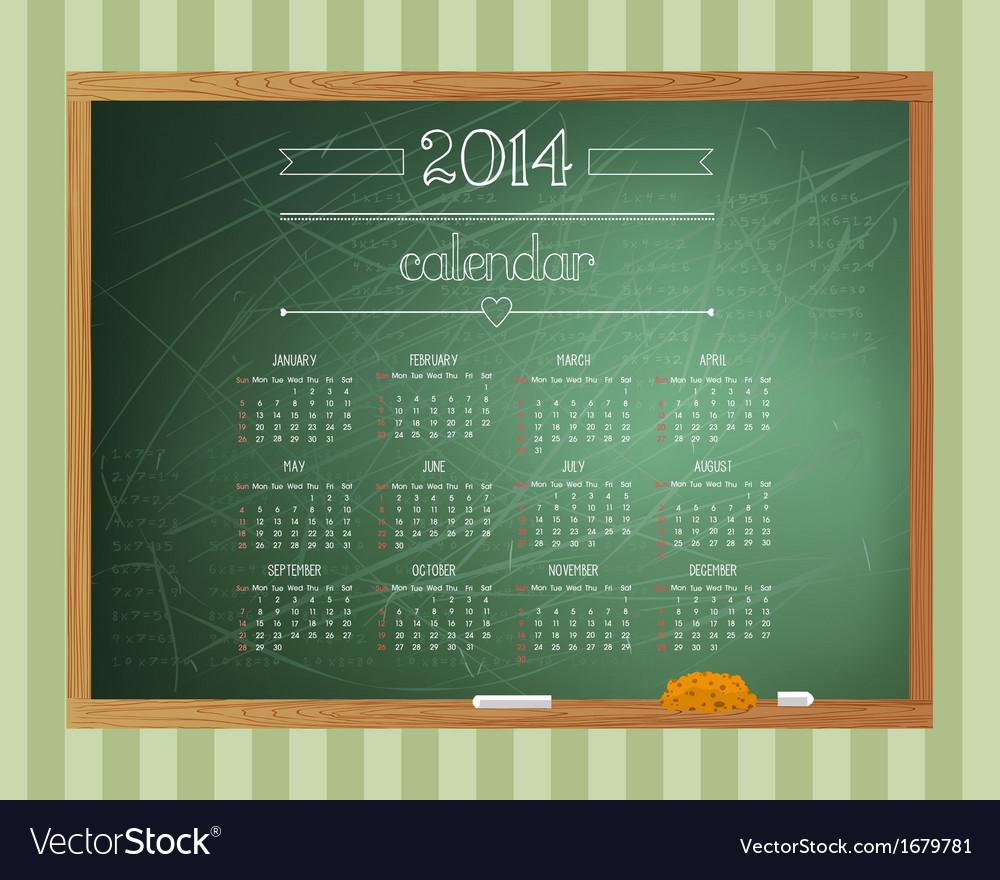 Chalkboard Calendar Royalty Free Vector Image Vectorstock