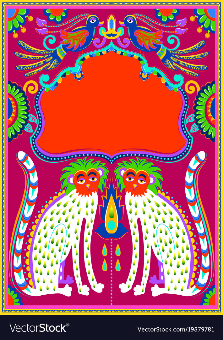 Indian frame with birds cheetah and flowers in Vector Image