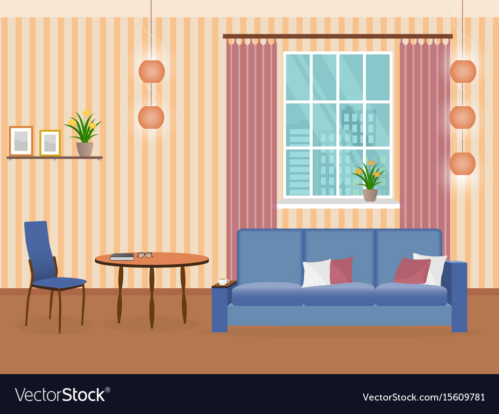 Interior of living room design in flat style with vector image