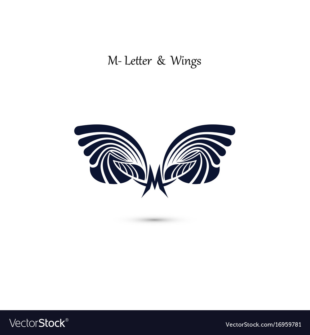 M letter sign and angel wings monogram wing logo