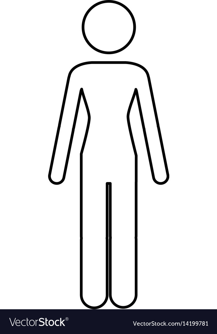 Monochrome contour pictogram of human silhouette