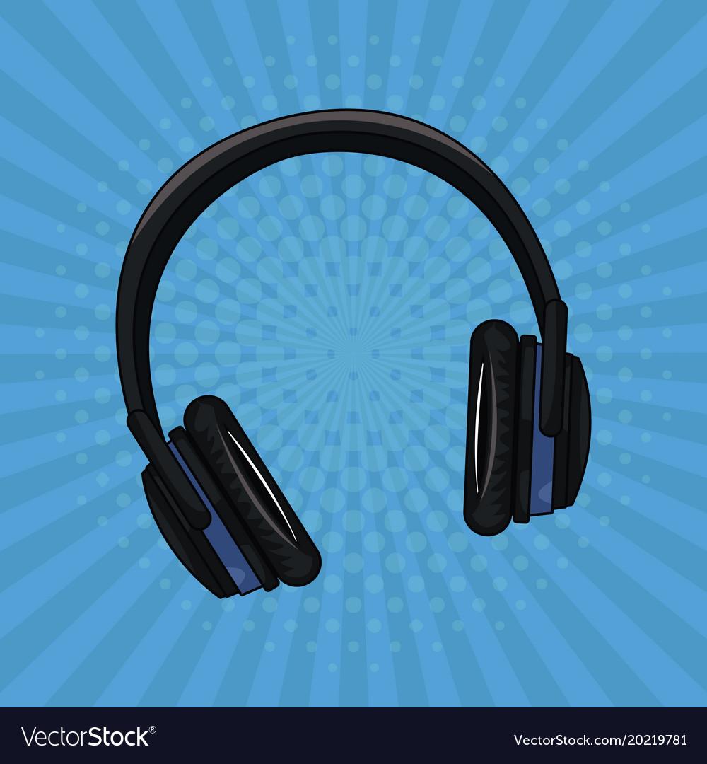 Music Headphones Pop Art Royalty Free Vector Image