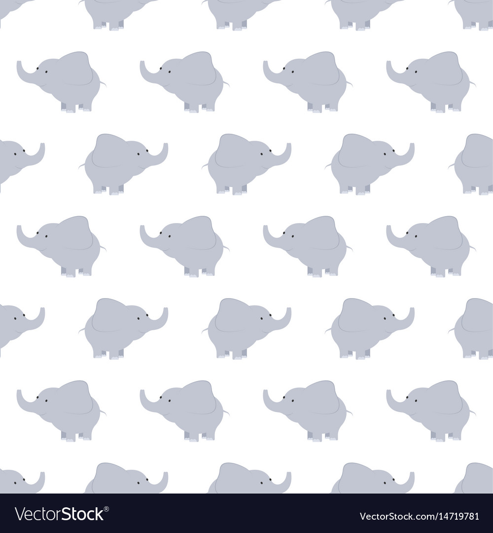 Pattern of blue and grey elephants background vector image