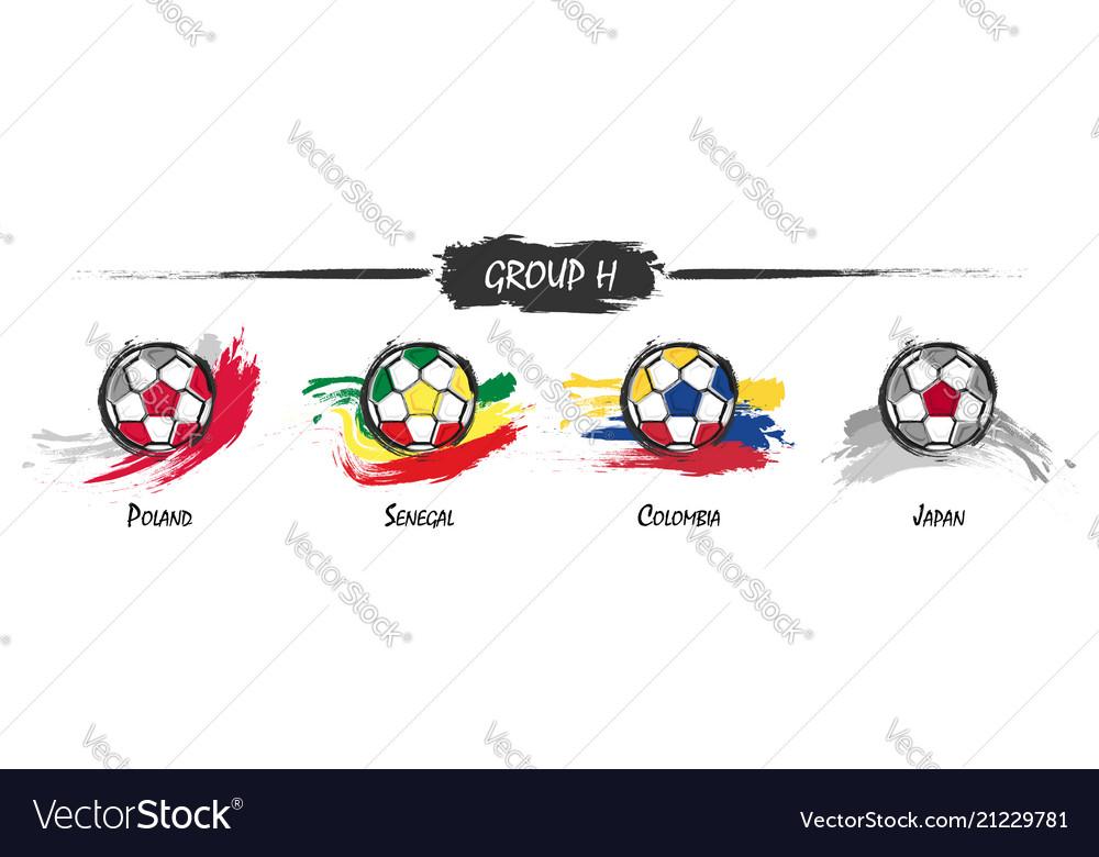Set of football or soccer national team group h