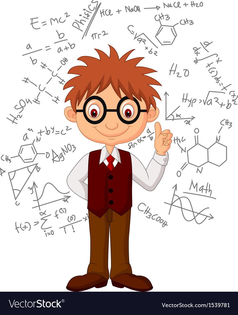 Smart boy cartoon vector image