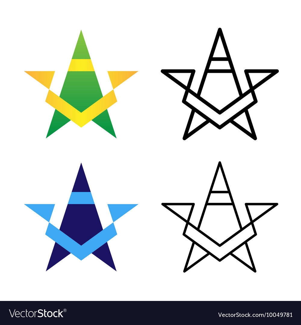 Star Logo Template Set Colored Black And White