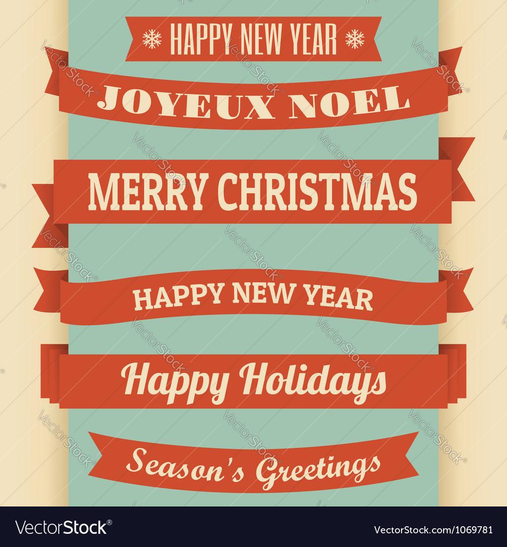 Vintage christmas banners vector image