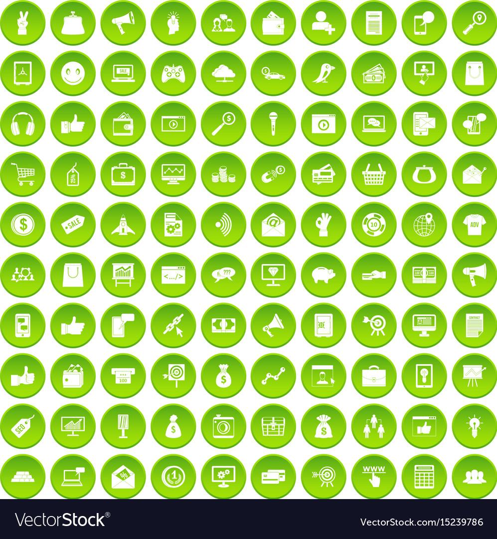 100 digital marketing icons set green circle