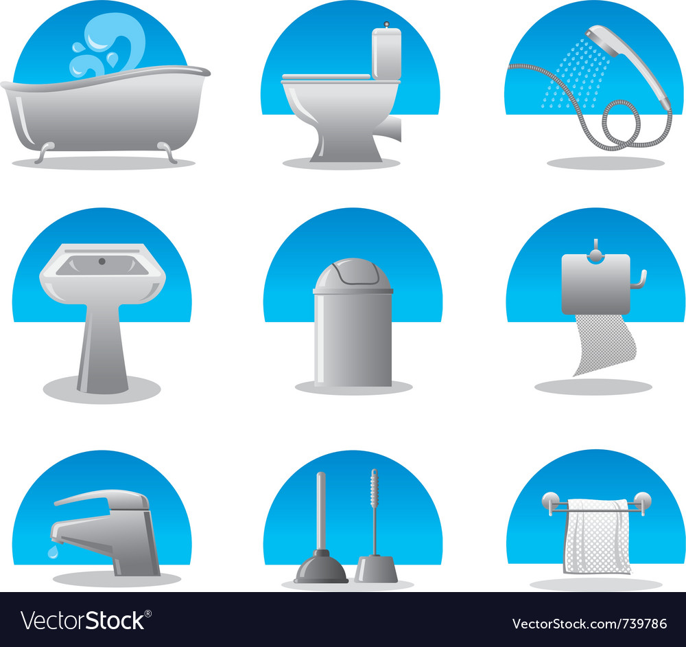 Bathroom and toilet web icon set Royalty Free Vector Image