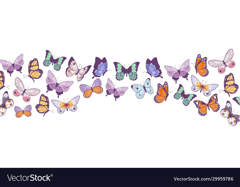 Butterflies banner flying beautiful spring and