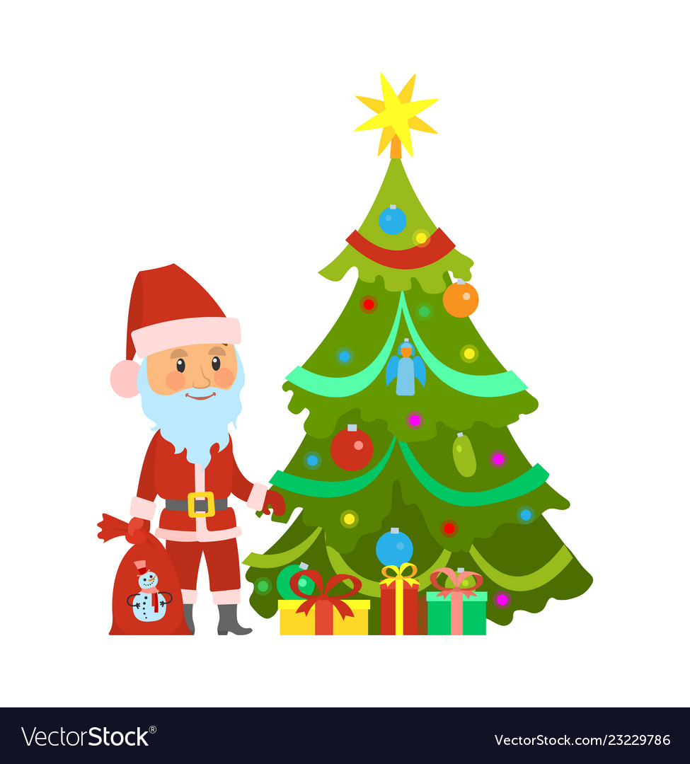 Christmas winter holidays santa claus and tree vector
