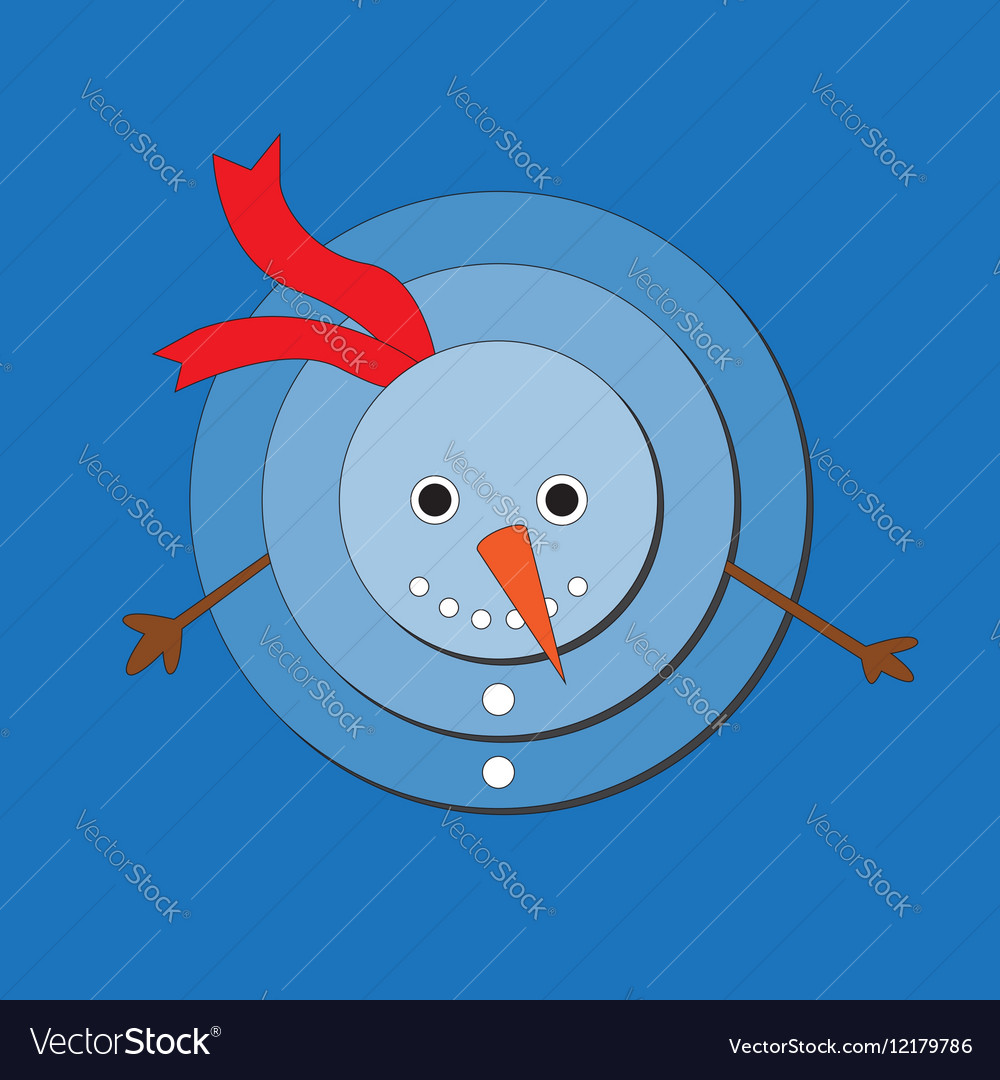 Cute snowman on blue background