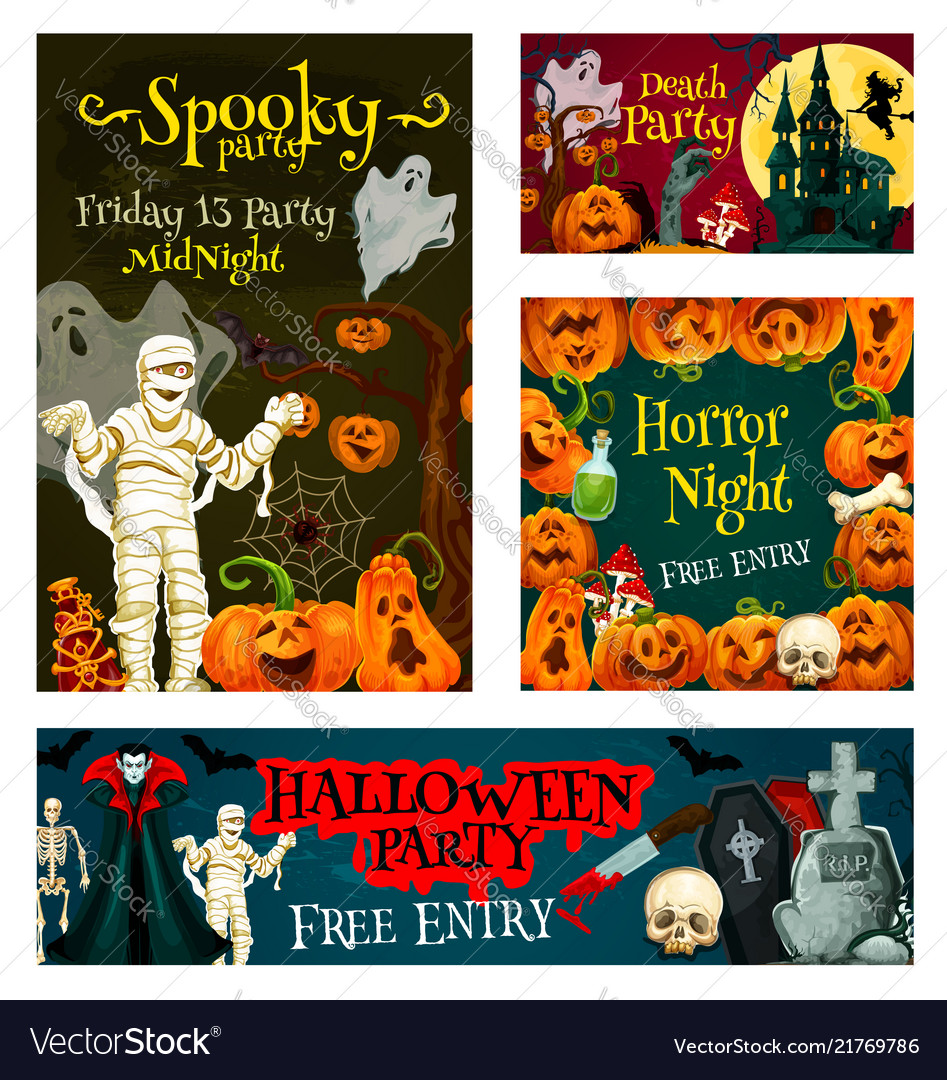 Halloween trick treat party poster banner