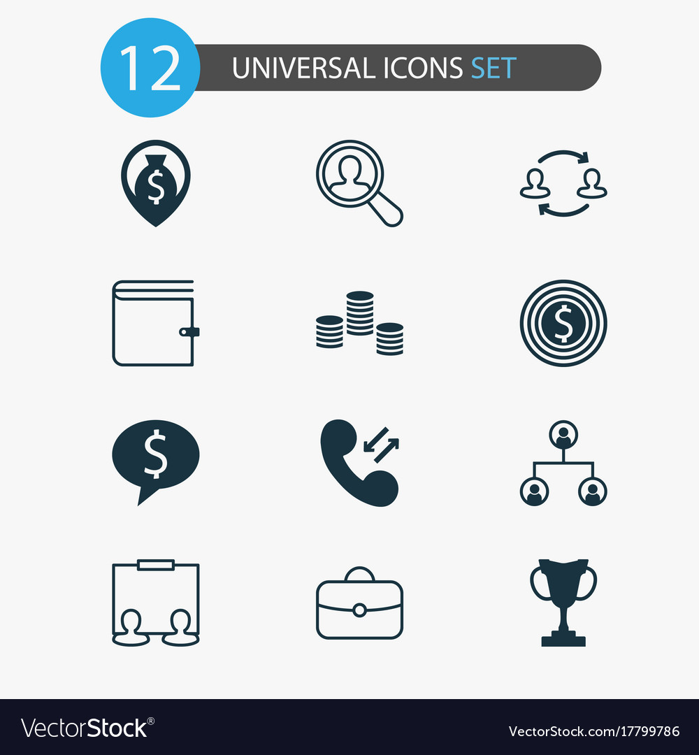 Resources icons set collection of partnership
