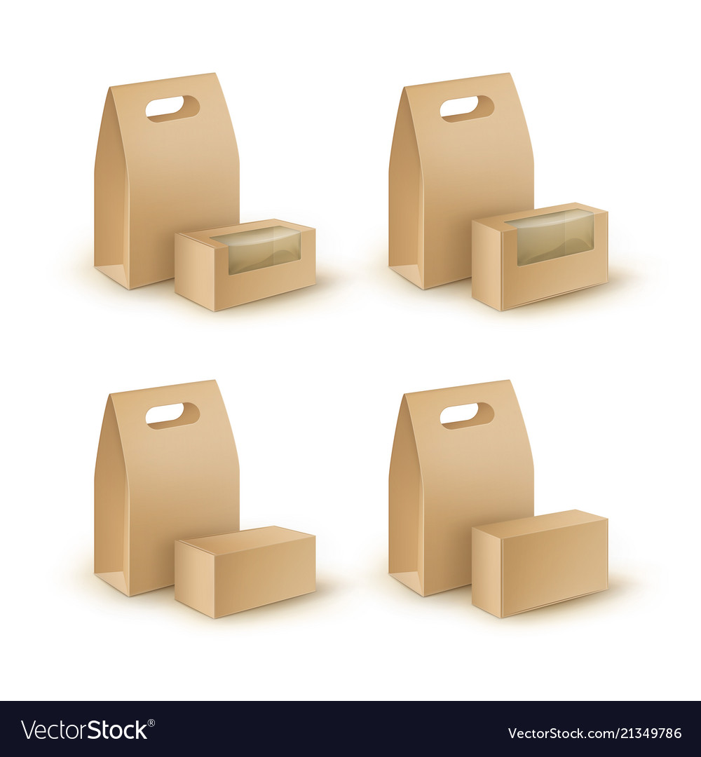 Set of brown blank cardboard rectangle take