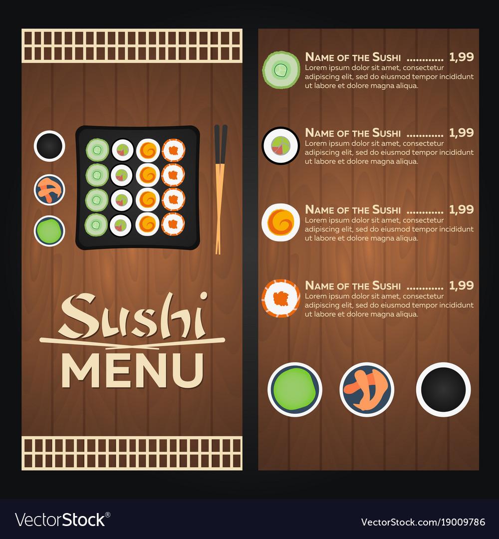 Sushi menu design template