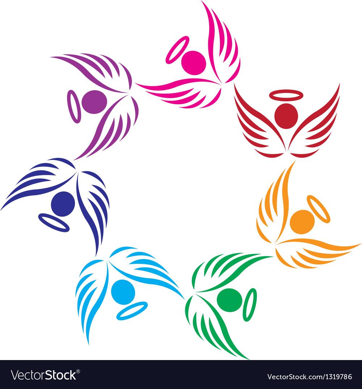 Teamwork angels support logo vector image