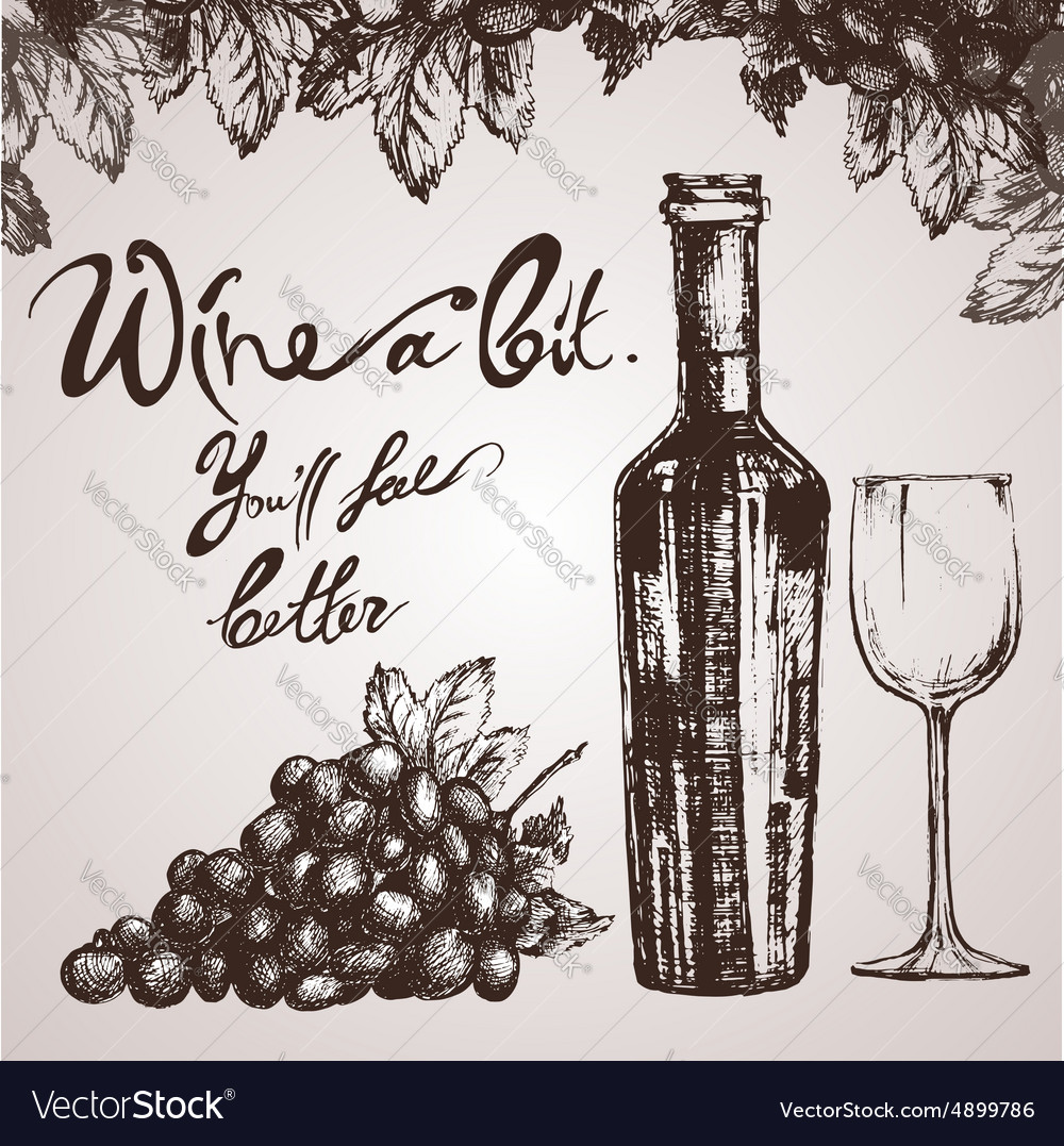Wine sketch and vintage vector image