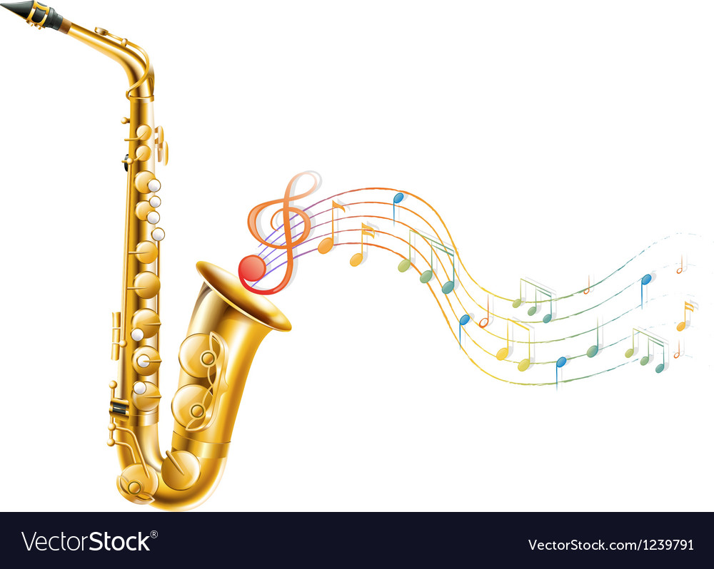 A golden saxophone with musical notes vector image