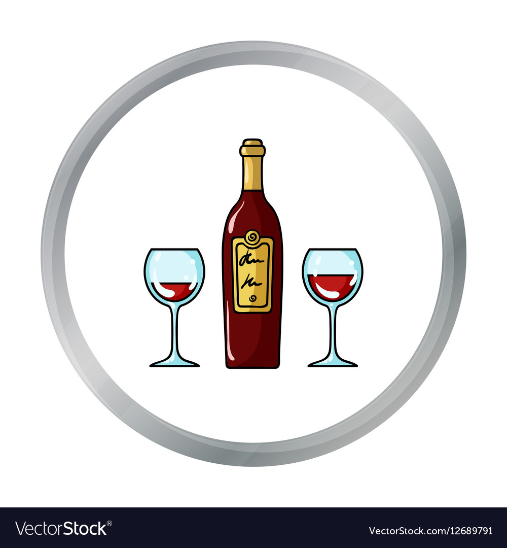 Bottle of red wine with glasses icon in cartoon