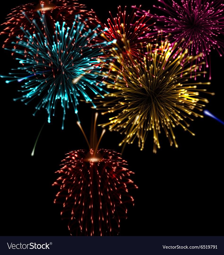 Festive abstract firework bursting in various