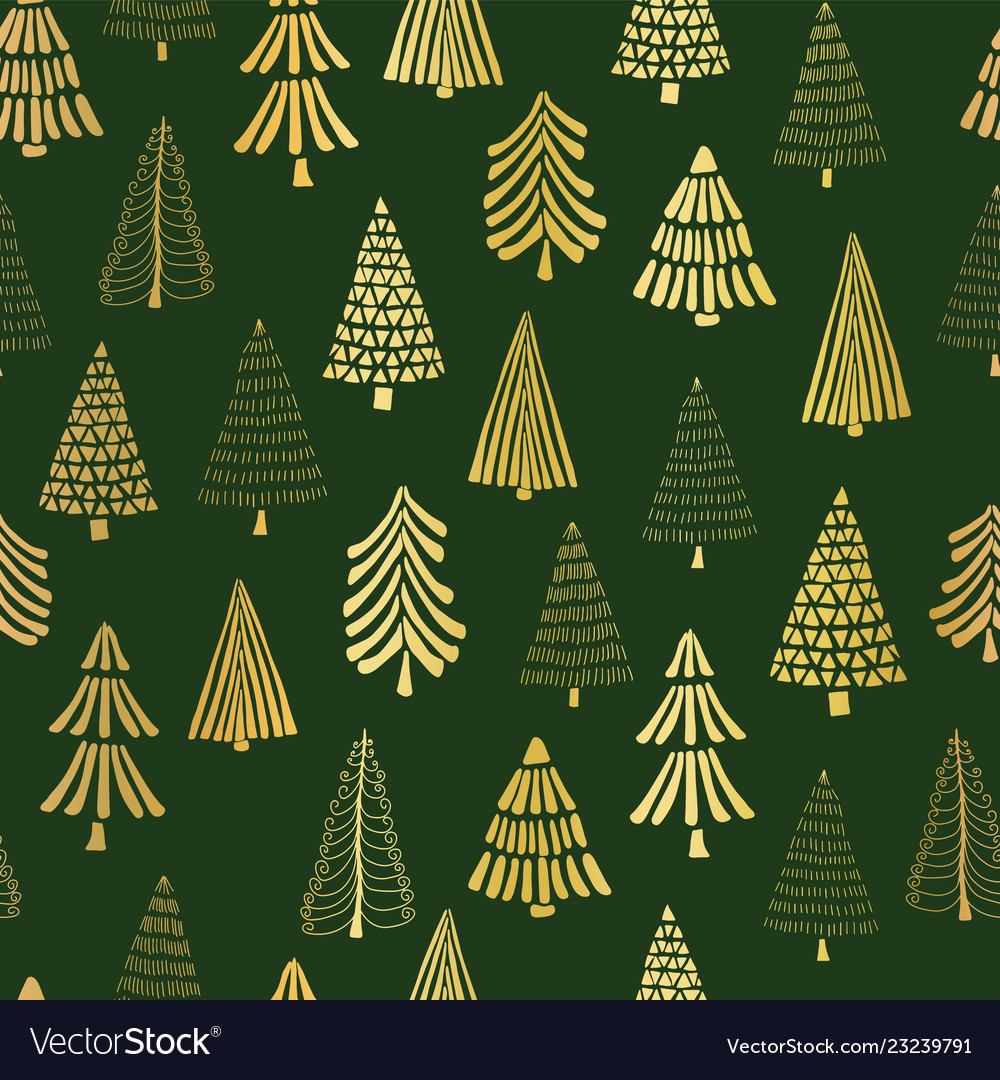 Gold foil doodle christmas trees seamless