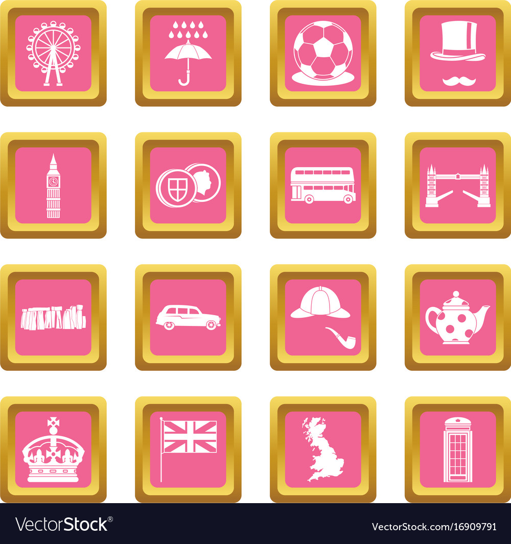 great britain icons pink royalty free vector image