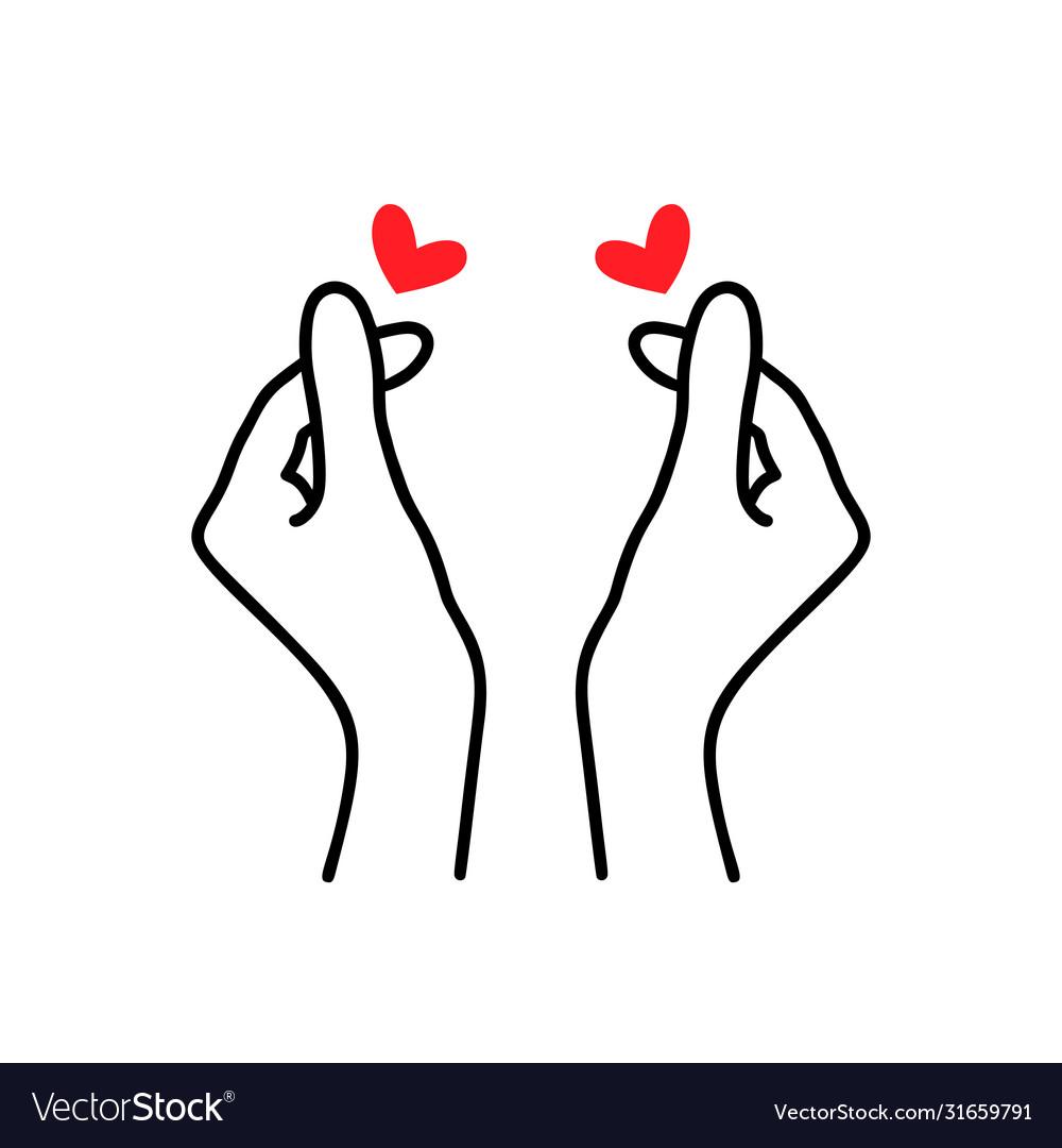 Korean heart sign finger love symbol happy