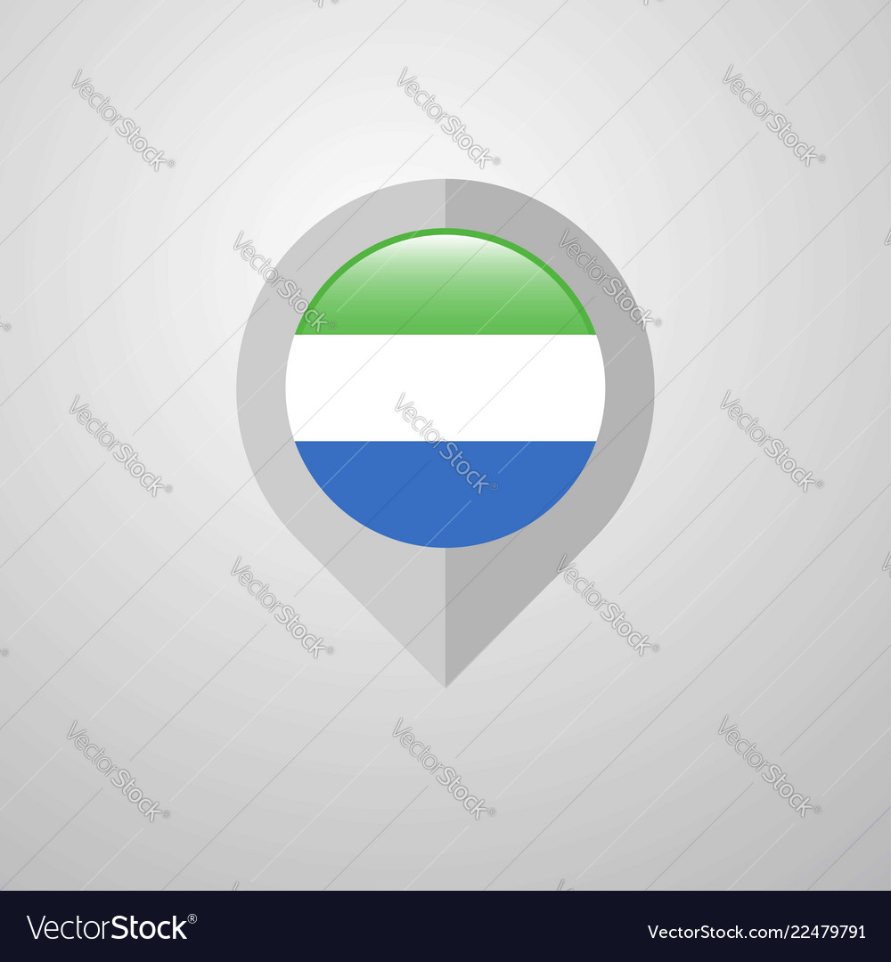 Map navigation pointer with sierra leone flag
