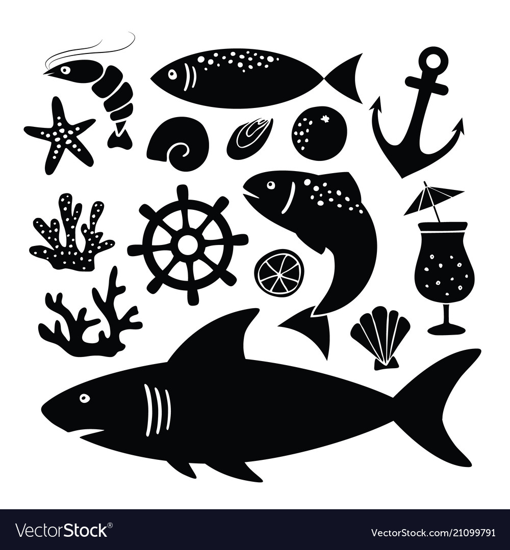 Set black silhouettes shark fish shrimp vector