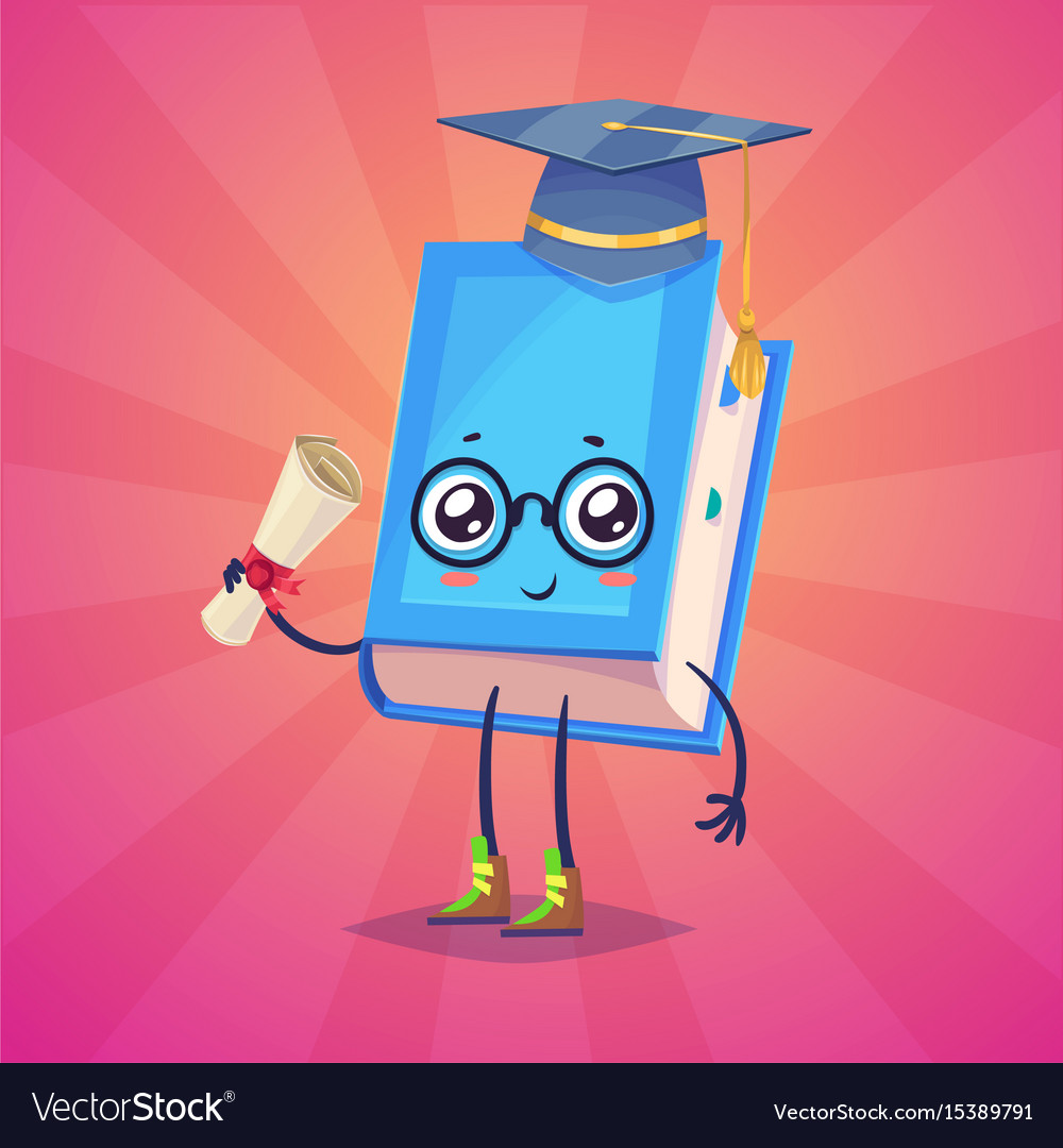 Set of book characters cute cartoons vector image