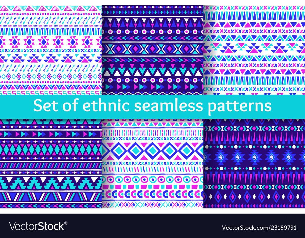 Set of six ethnic seamless patterns