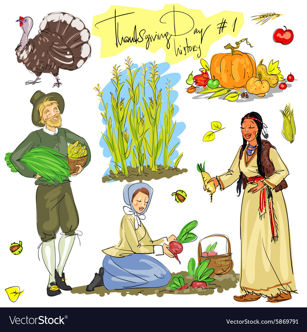 Thanksgiving day hand drawn collection Set 1