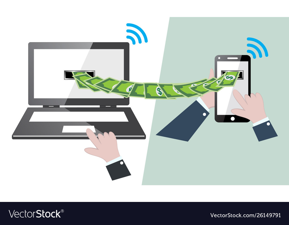 Transfer money online with mobile phone to laptop